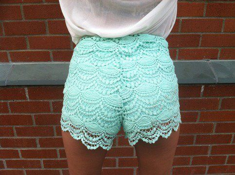 High Waisted Crochet Shorts (Teal) from Affaire d'Amour | Shorts ...