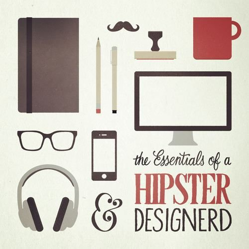 the essentials of a hipster designerd (via Picame)