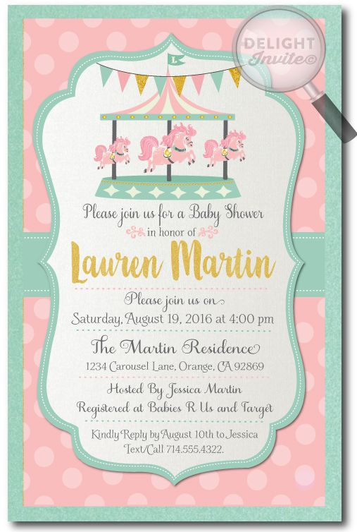 Vintage Carousel Baby Shower Invitations for Girls, professionally ...