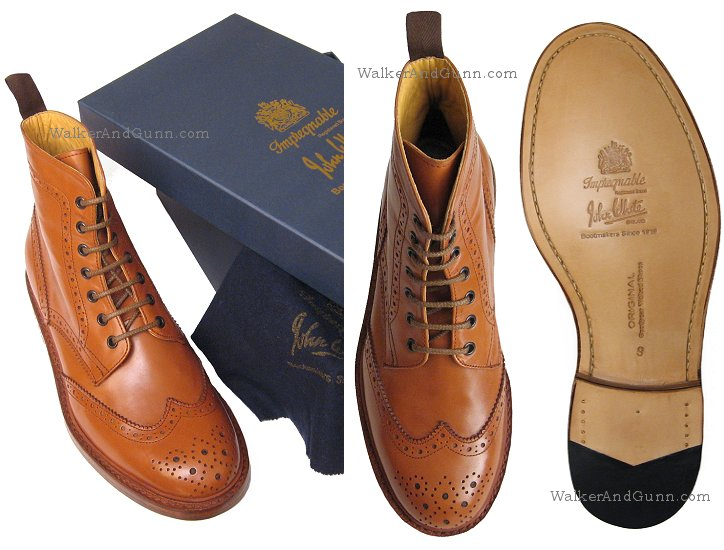 17a29535ee8 John White Full Brogue Boots in Tan Leather | hadry | John white ...