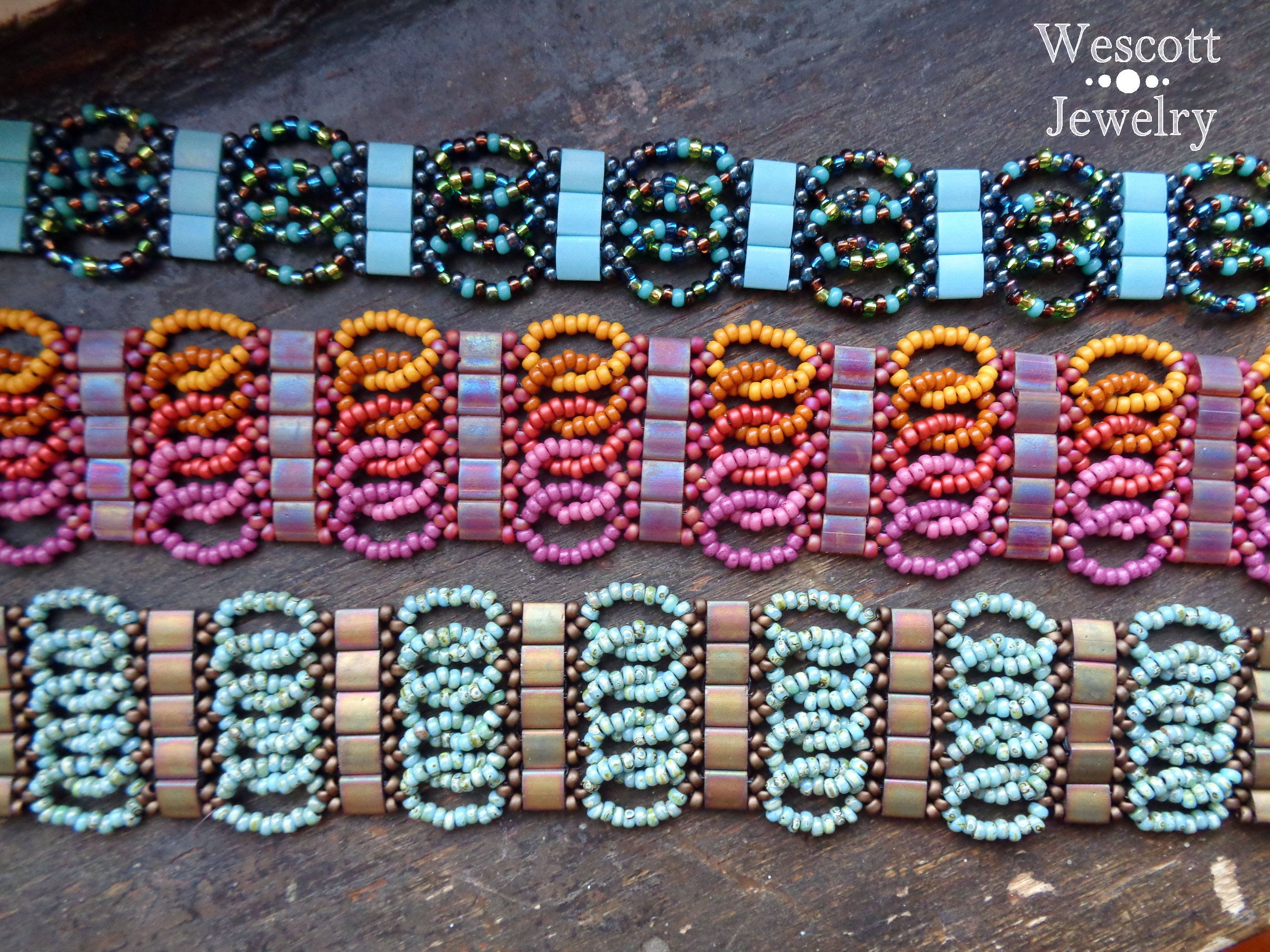 Pattern for Ruched Tila Bracelet Cuff with Two Hole Miyuki   Oh Won ...
