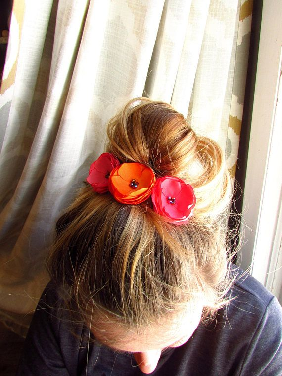 Pick 3 small floral hair pieces bridesmaid flower hair clip silk pick 3 small floral hair pieces bridesmaid flower hair clip silk fabric flowers orange guava wedding coral and pink accessories girl hair mightylinksfo