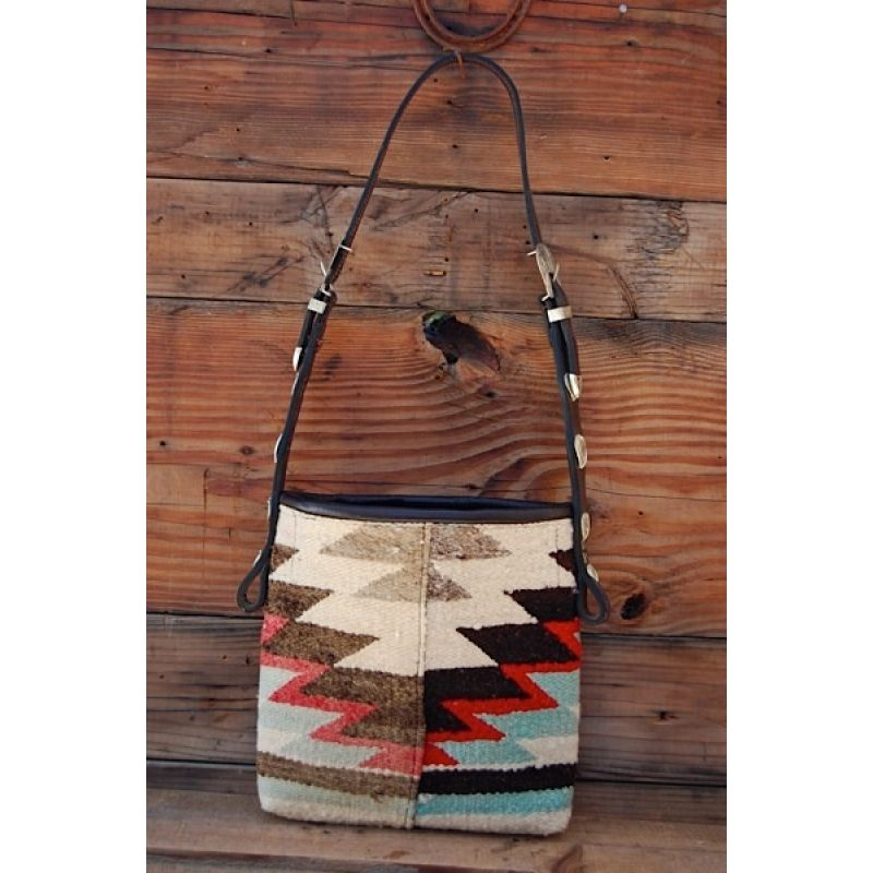 Vintage Navajo Rug Shoulder Bag Blue Beautiful Silver