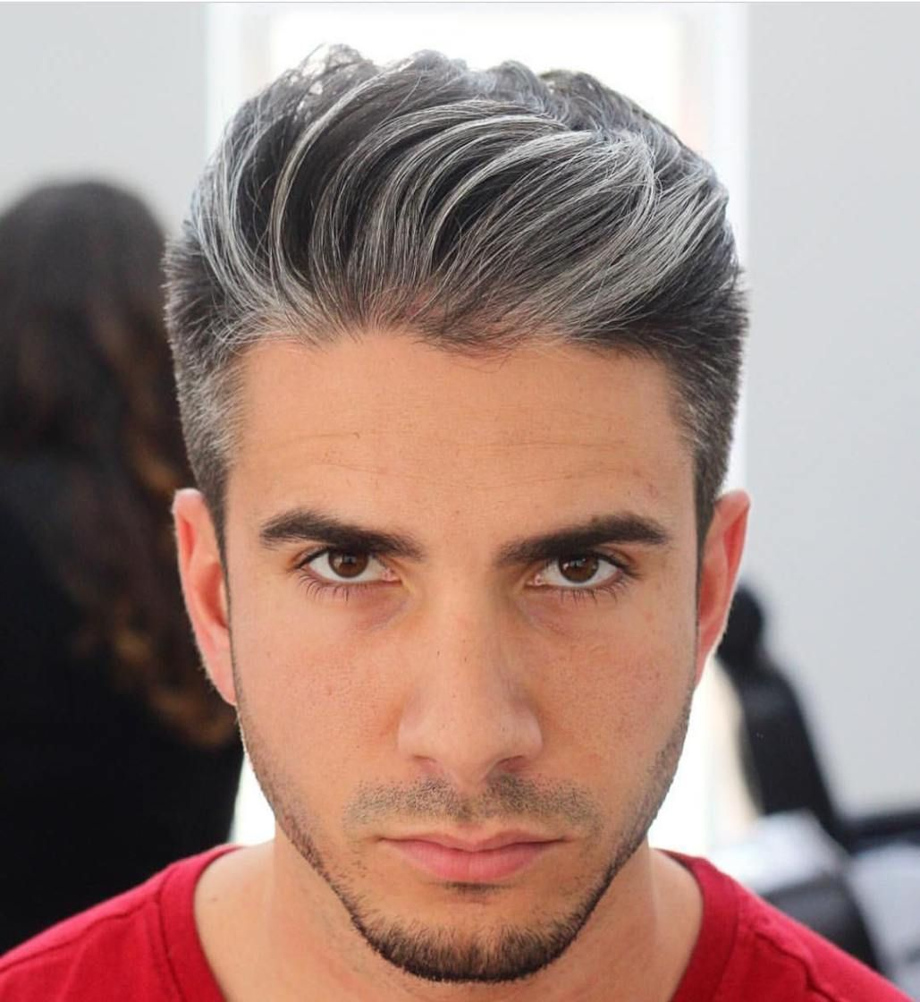 brushed back salt and pepper hairstyle | cool men's