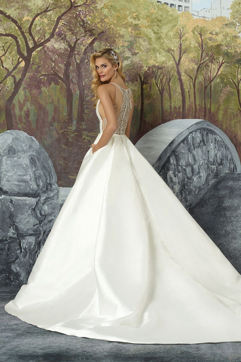 Style 8937: Mikado Box Pleat Ball Gown with Beaded Illusion Square ...