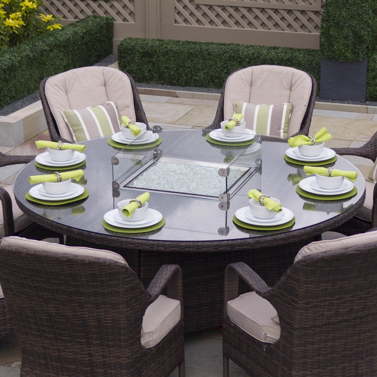 Gas Fire Pit Dining Table 8 Seat Round Table Only