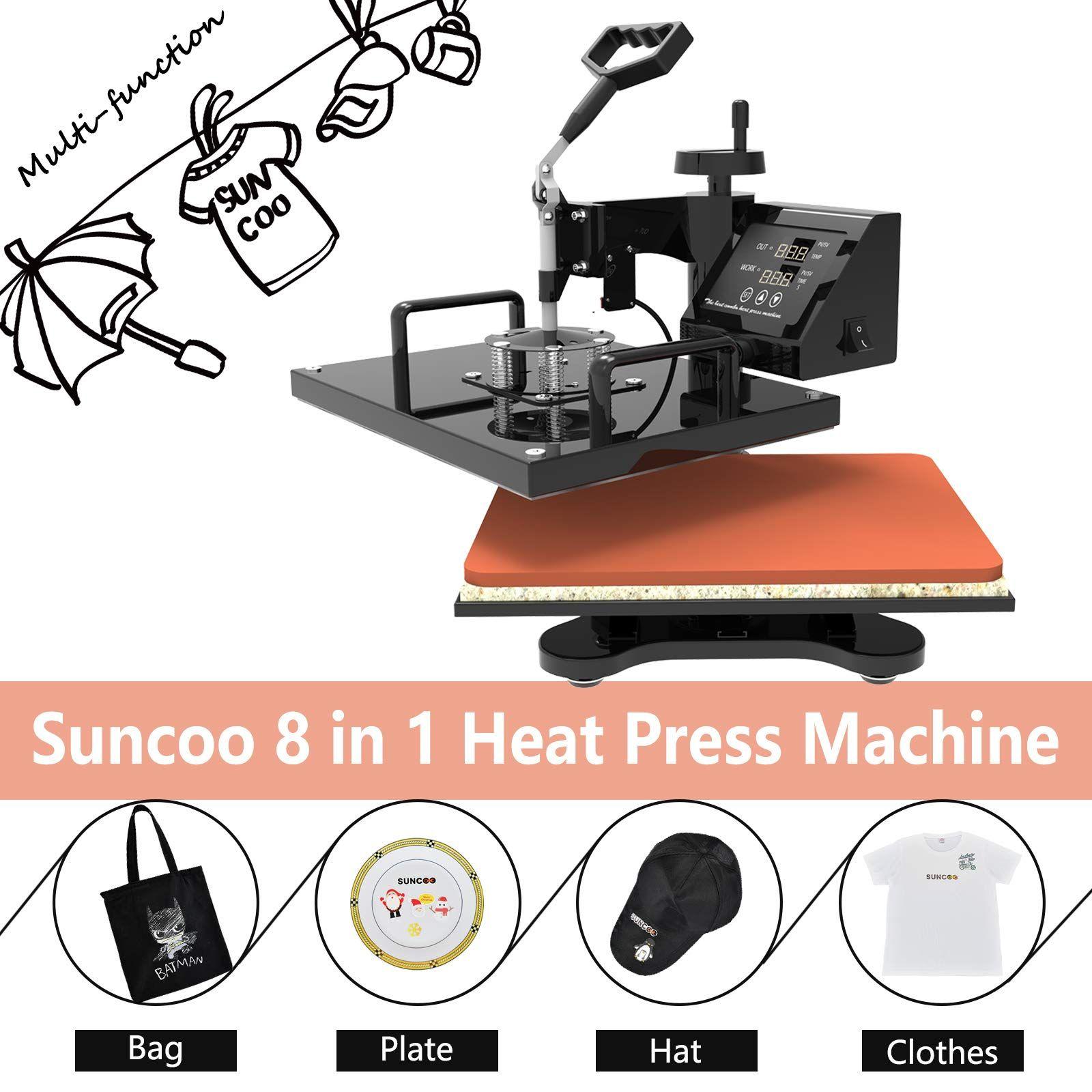 SUNCOO 5 in 1 Heat Press Transfer Machine Hot Pressing Vinyl Digital Sublimation Combo Kit for T-Shirt//Mug//Hat//Cap//Ceramic 360 Degree Swing Away 12x15