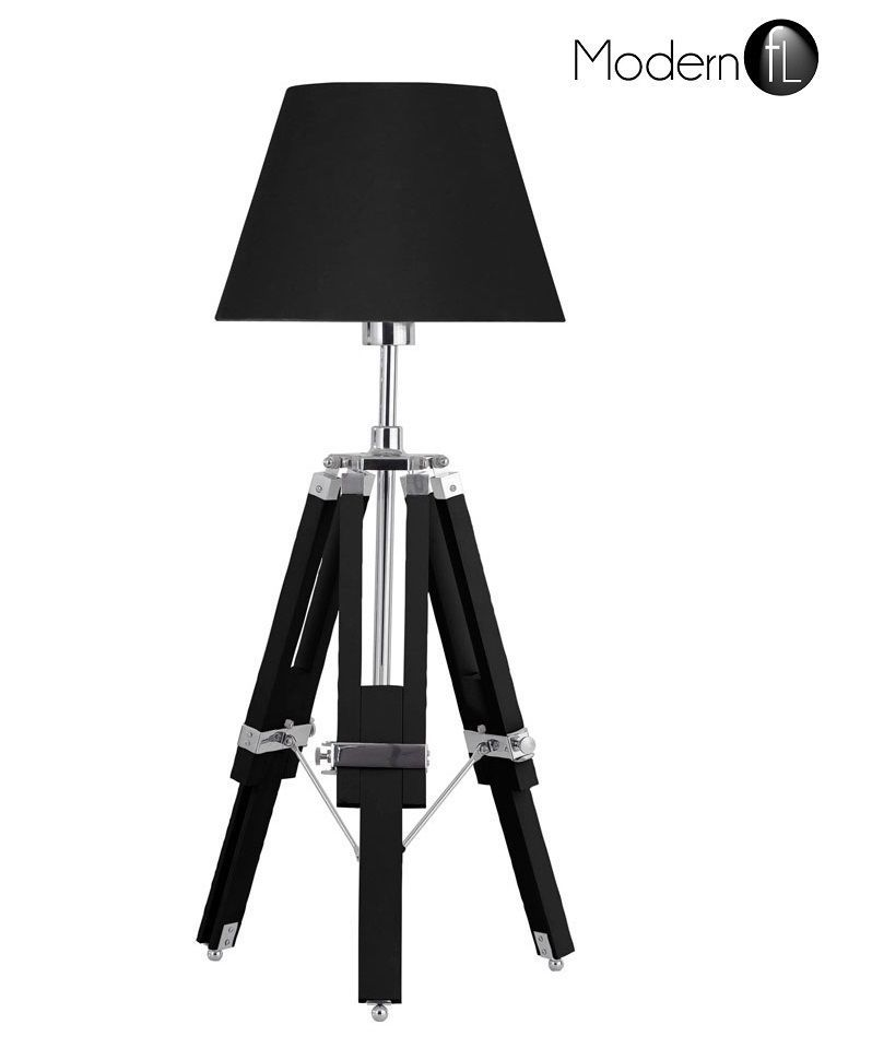 *NEW* TRIPOD TABLE LAMP, NAUTICAL STYLE BEDSIDE TABLE LAMP WITH BLACK SHADE,