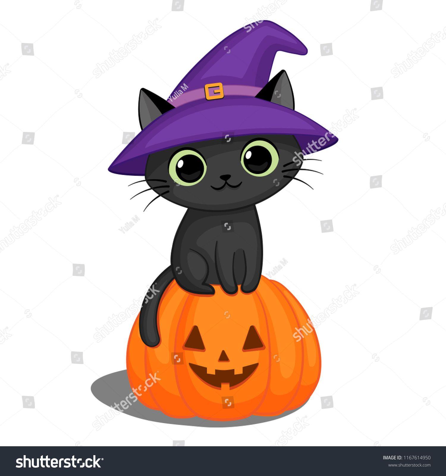 Cute Black Cat In A Witch Hat Sitting On A Halloween Pumpkin Ad Affiliate Cat Witch Cute Black Witch Cute Cute Black Cat Cute Black Cats