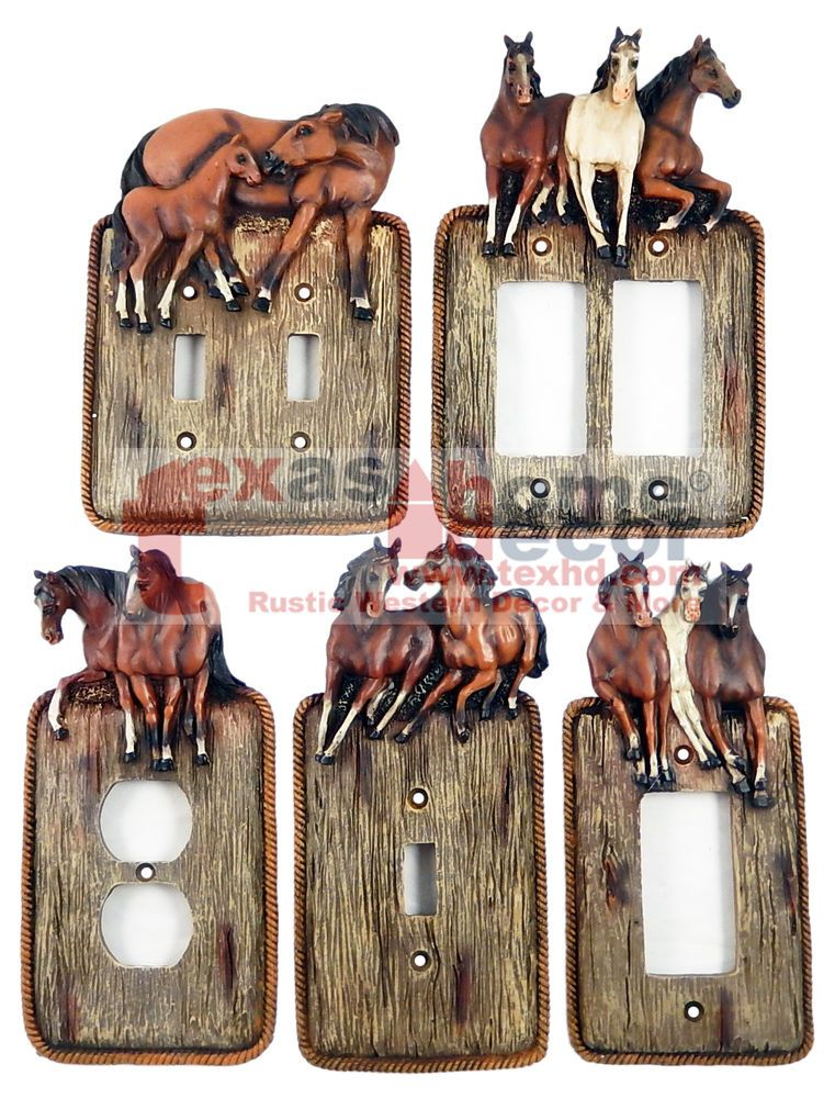 western running horses light switch plate covers faux wood look rope edge outlet