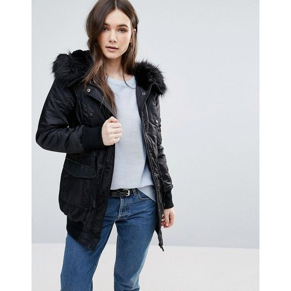 Dkny hooded faux fur trim parka