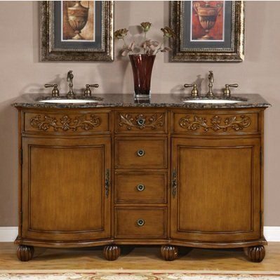 58 Bathroom Furniture Baltic Brown Granite Top Double Sink Vanity