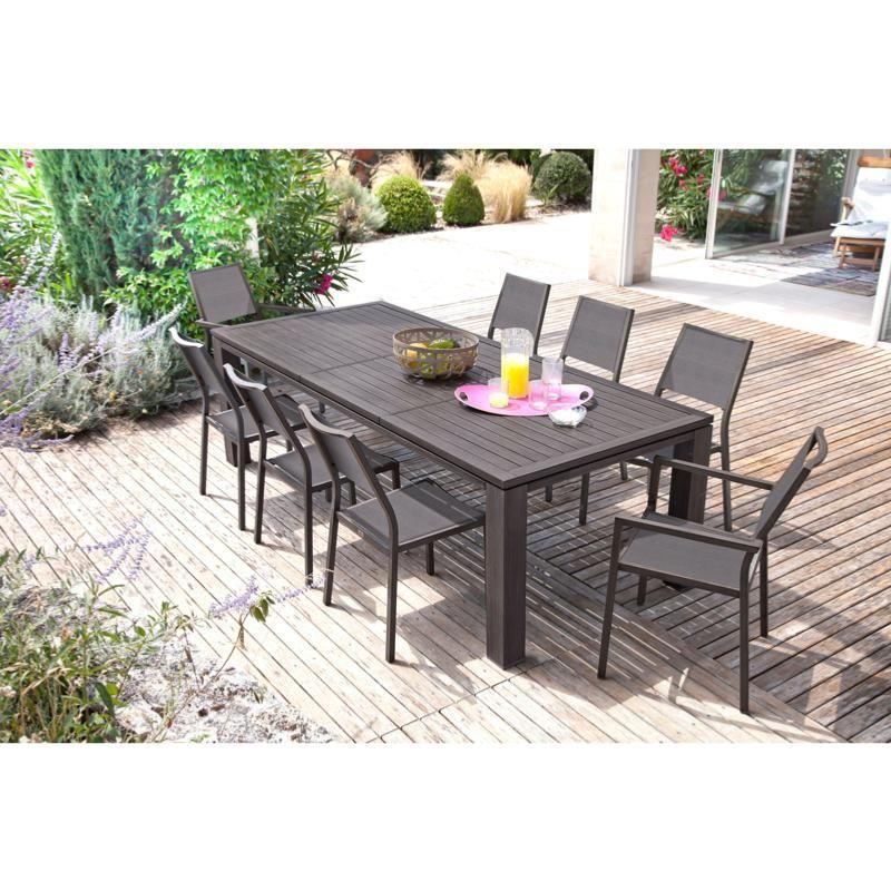 Table Fiero 180 240x103cm En Aluminium Coloris Ceruse Brun Proloisirs Table De Jardin Mobilier De Jardin Design Ensemble Table De Jardin