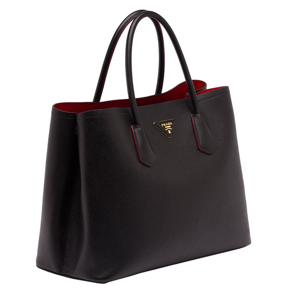 e9c8d985c97589 Straight on my wish list - Prada Saffiano Cuir Double Bag in black and red