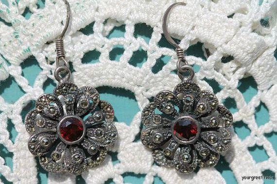 Vintage 925 Sterling Silver Marcasite and Faux Garnet Flower Earrings