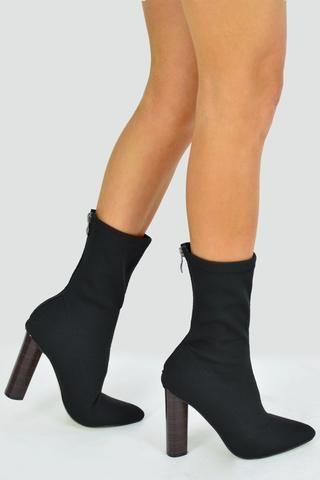 fc06dbdb39db KIMMY Knit Ankle Boot With Wooden Heel - Black - AJ Voyage