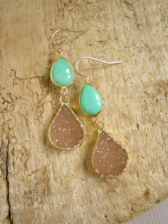 RESERVED Druzy Earrings Drusy Quartz Chrysoprase 24K Gold