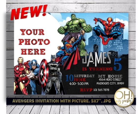 Avengers Birthday Invitation With Photo Avengers Invitation Avengers Party Avengers Birt Superhero Birthday Invitations Superhero Invitations Avengers Birthday