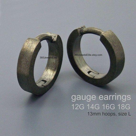 Gauge Earrings 14 Body Jewelry 10 12 16 18 Black Gauged Hoop E190