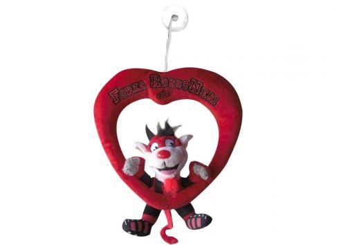 TIF8 VENTOSINO CUORE ROSSO/NERI  Ventosino cuore peluche di colore rosso TIF8, con diavolotto all'interno del cuore nei colori rosso e nero.