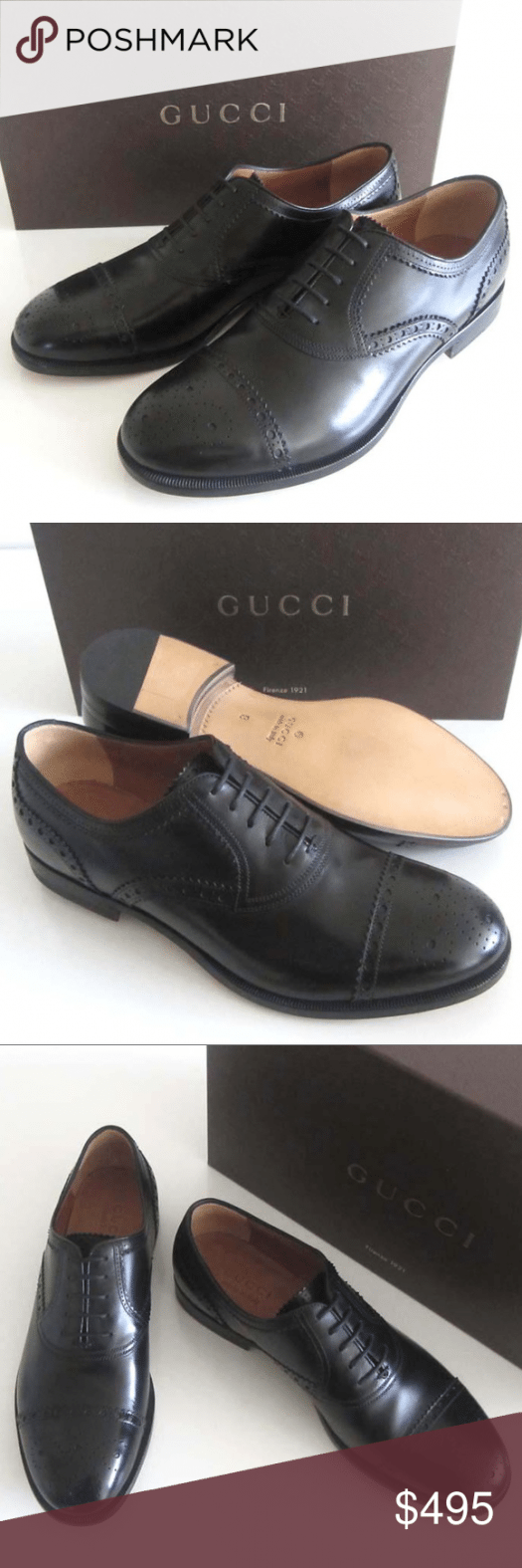 new GUCCI black perforated cap toe shoes 8  9 US Mens black leather GUCCI  Style 312279  dress shoes with toe medallion perforated trim details five eyelet lace up front...