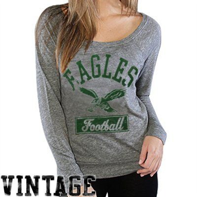 2d90f9a69  MyFanaticsWishList Junk Food Philadelphia Eagles Ladies Off Shoulder  Raglan Long Sleeve Tri-Blend T-Shirt - Ash