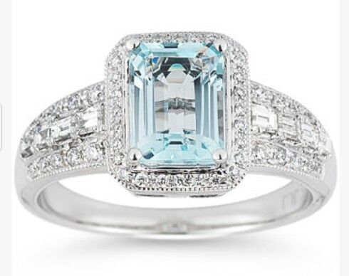 Costco Aquamarine Ring White Gold Diamond Rings