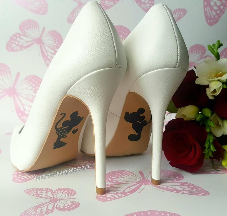 Wedding Shoe Decal Sticker Mickey And Minnie Mouse Love