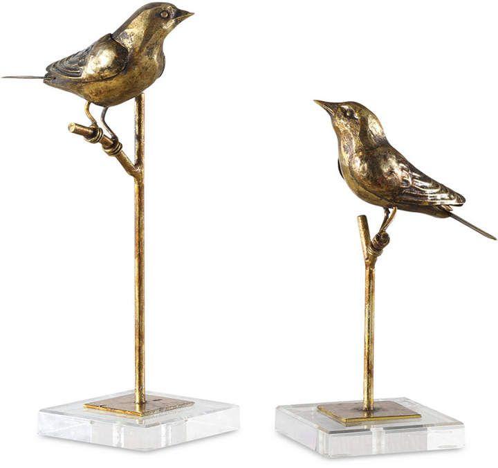Set of 3 Bronze Style Bird Figurines Ornament Wren Garden Decorations Vintage