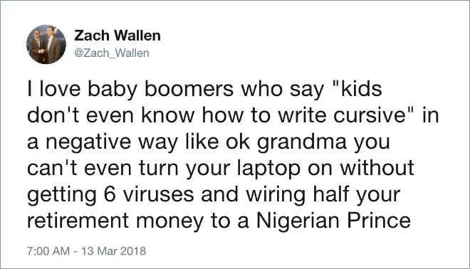 20 Hilarious Tweets Of Millennials Vs Baby Boomers Baby Boomers Generation Millennials Vs Baby Boomers Millenials Funny