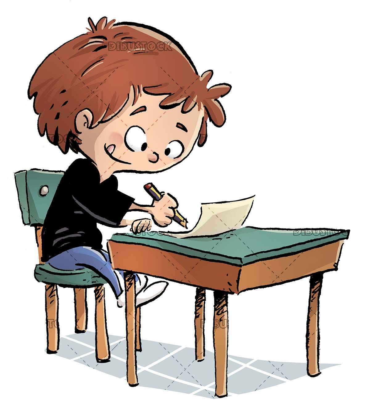 Concentrated Boy Writing At His Class Desk In 2020 Character Drawing Guided Drawing Drawings