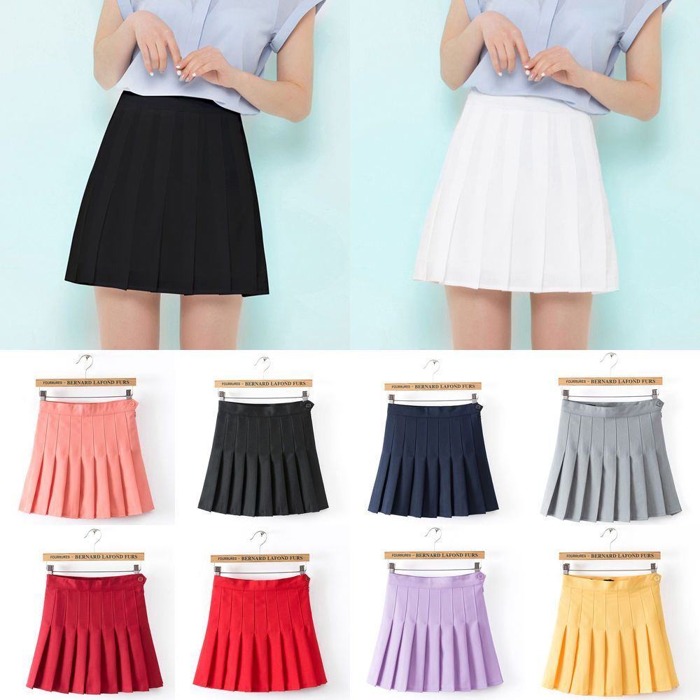 New Korean Lady High Waist Pleated Mini A Line Tennis Skirts With Safety Shorts Tennis Skirts Skirts Korean Women