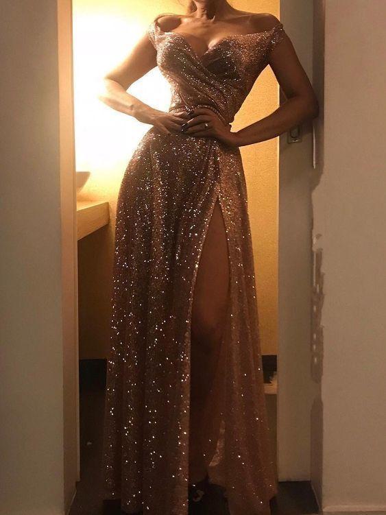 Gold Sequined Off Shoulder Prom Dress #eveningdresses