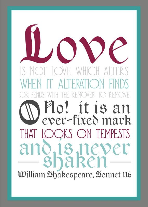 Love Poster 5x7 Shakespeare Sonnet Typography By Flourishcafe