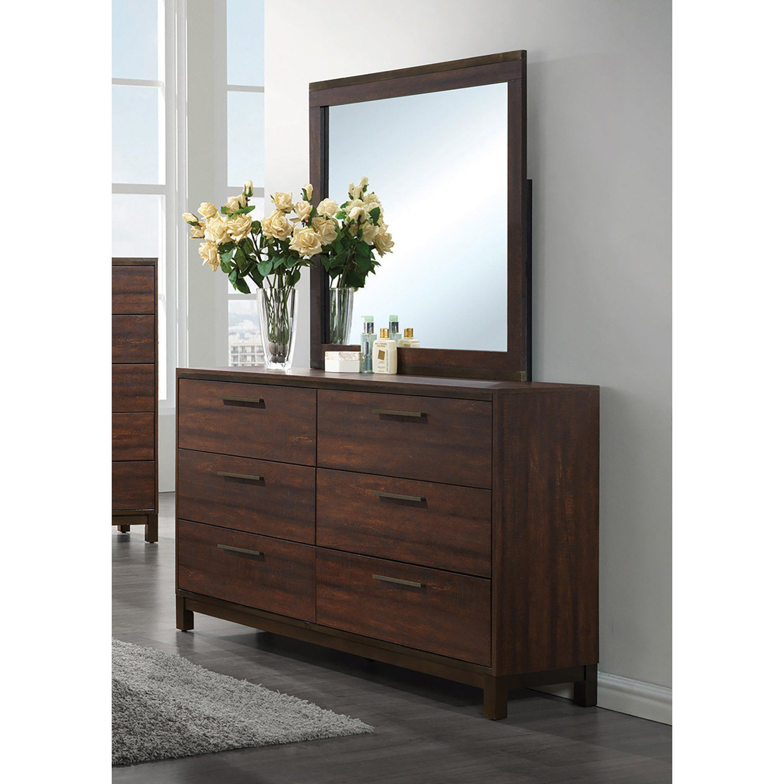 Coaster Furniture Edmonton 6 Drawer Dresser Crafted For The Modern Bedroom Features Simple Lines And A