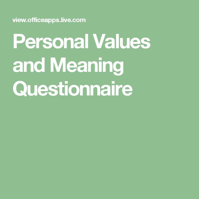 Personal Values and Meaning Questionnaire | Positive Parenting