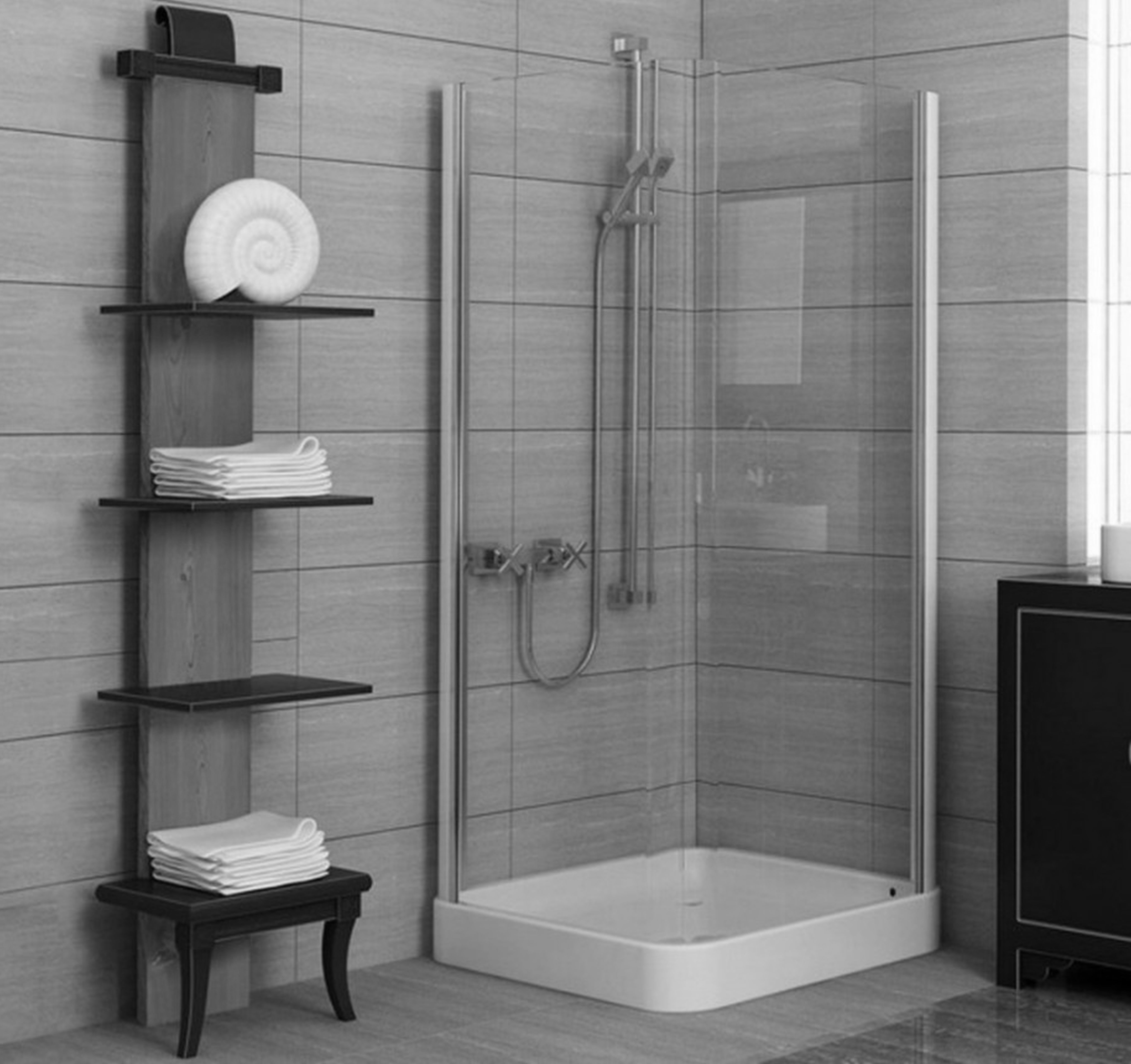 Endearing Corner Modern Walk In Shower With Black Wooden Open - Towel holders for small bathrooms for small bathroom ideas