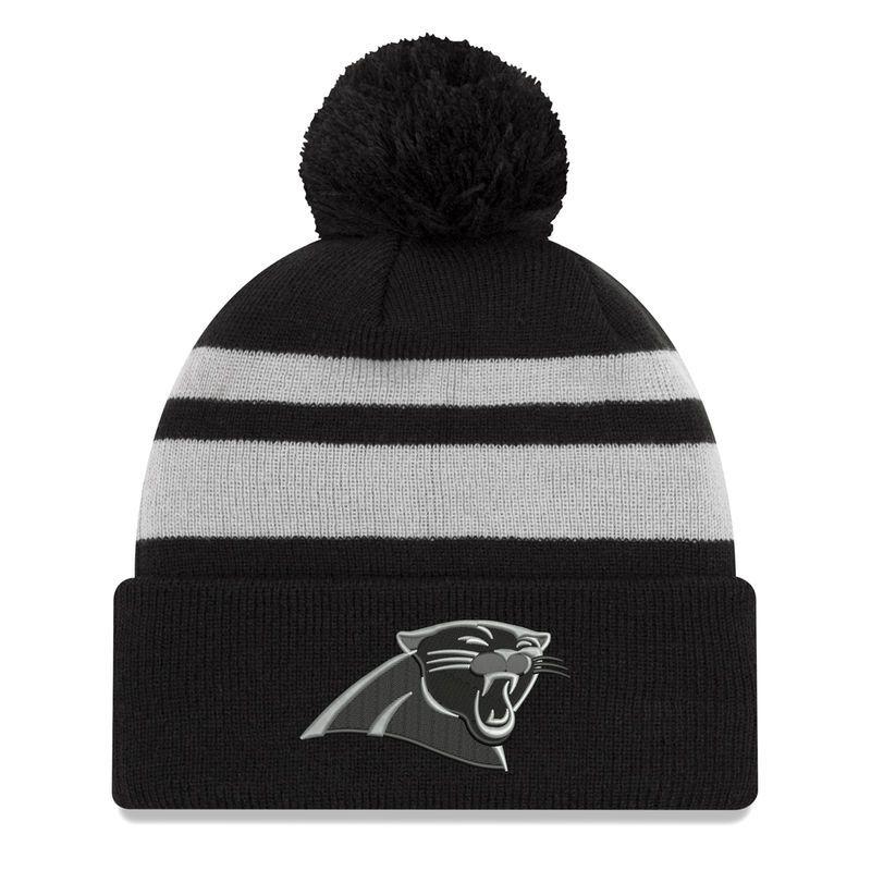 Carolina Panthers New Era Cuffed Knit Hat with Pom - Black