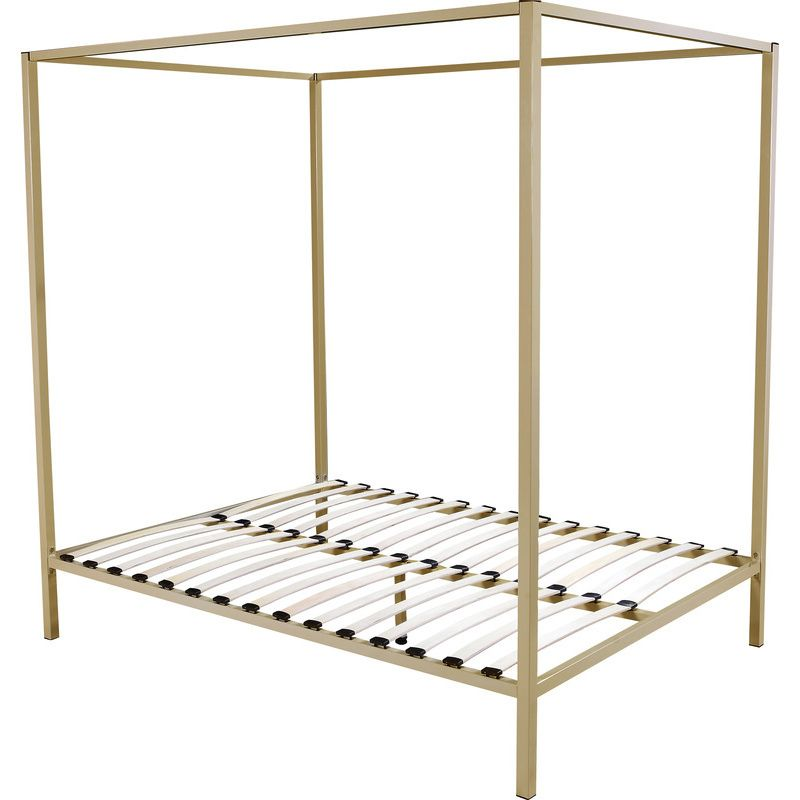 classic queen size 4 post metal bed frame in gold buy queen bed frame - Width Of Queen Bed Frame