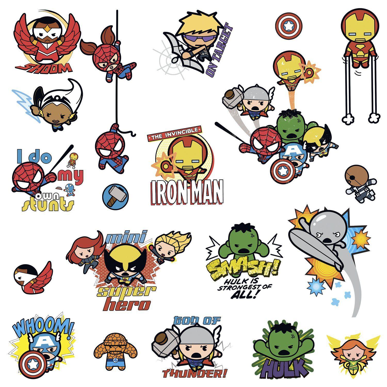 marvel superhero kawaii art peel and stick wall decals marvel marvel superhero kawaii art peel and stick wall decals