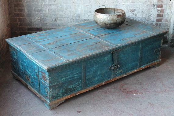 Massive Reclaimed Salvaged Antique Indian Turquoise Blue Wedding Trunk  Coffee Table Storage Chest