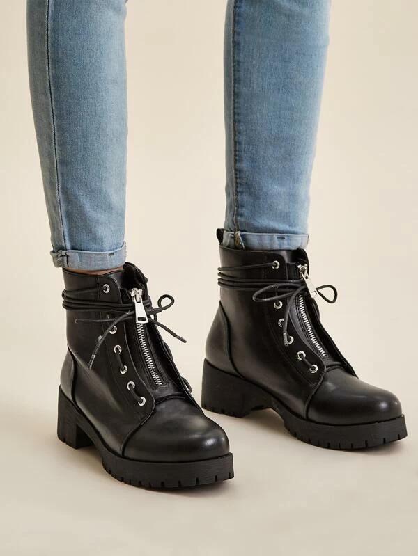 Lace Up Lug Sole Combat Boots Romwe Combat Boots Boots Lug Sole Boots