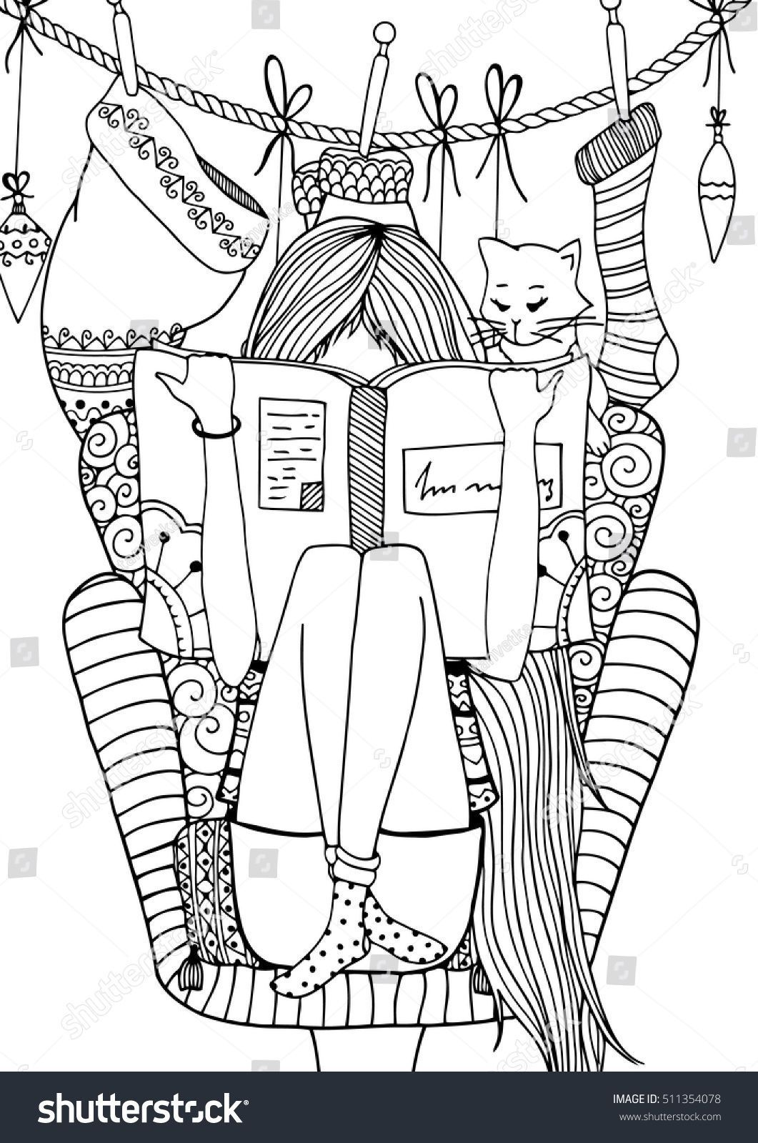 Vector Illustration Zentangl Girl Sitting In A Chair Reading A Book Doodle Drawing Coloring Book Anti Stre Coloring Books Doodle Drawings Cute Coloring Pages