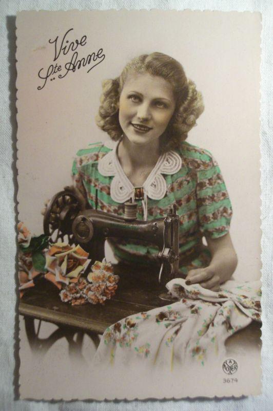 cpa ANNE femme vintage objet usuel machine à coudre ancienne postcard sewing AK