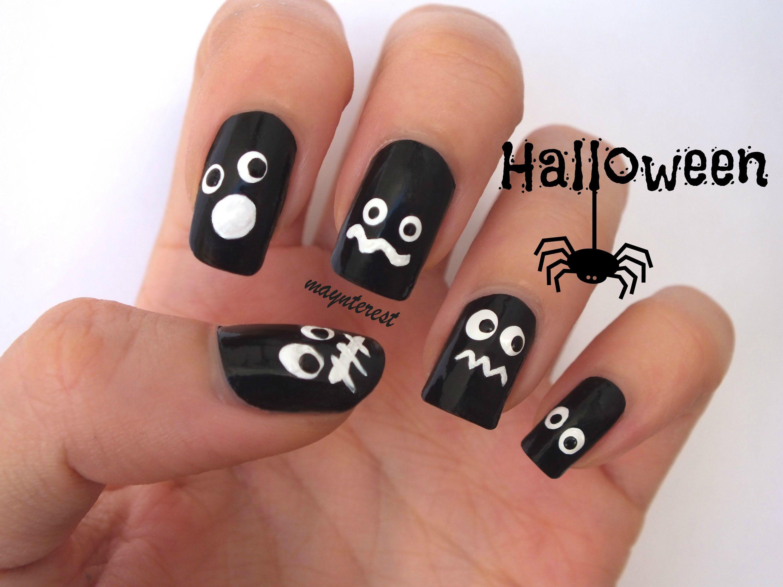 Diseño de uñas Ojos en la oscuridad - 5 diseños   Eyes in the dark ...