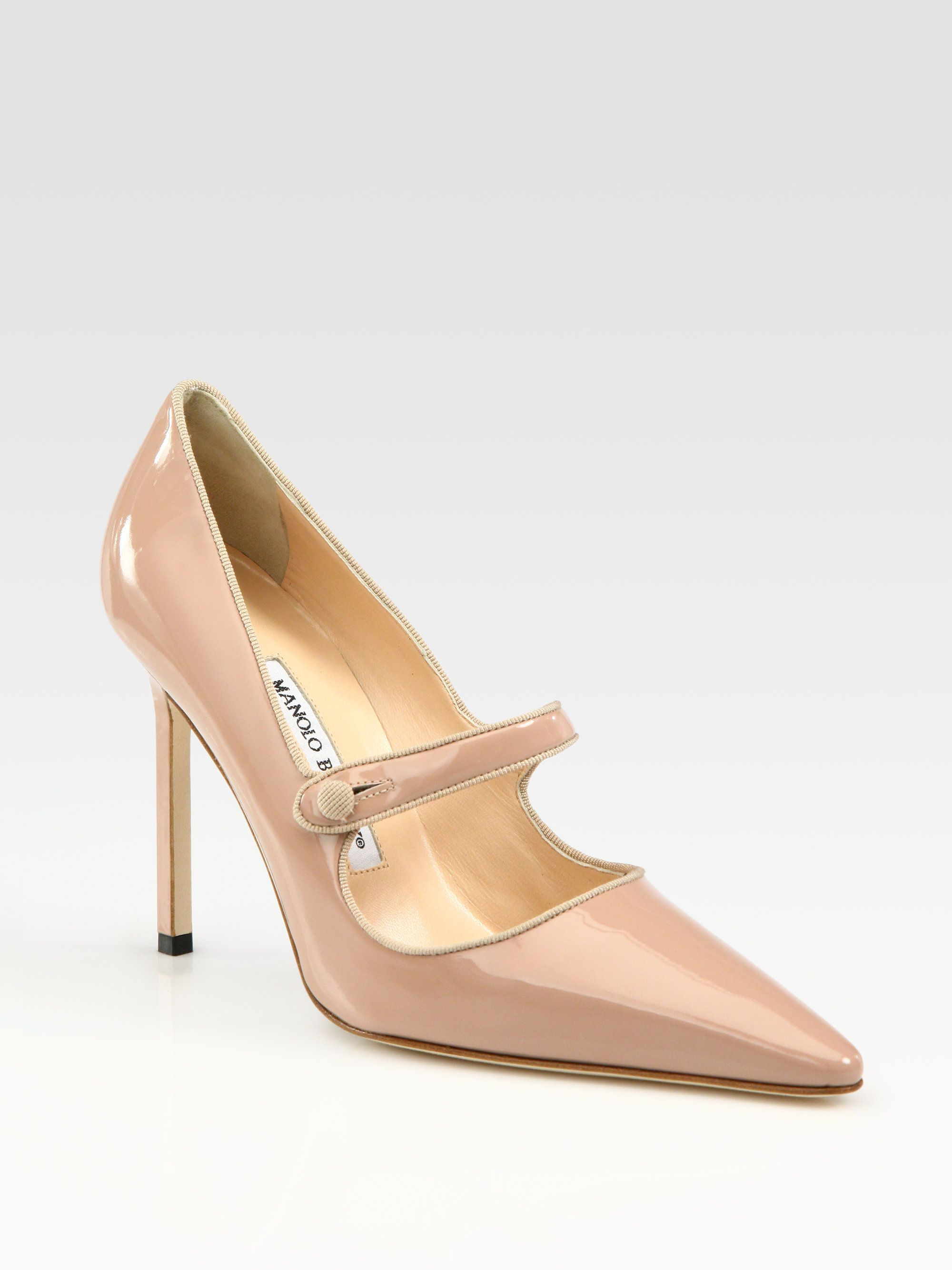 65f981664dc Manolo Blahnik Campari Patent Leather Mary Jane Pumps in (nude ...