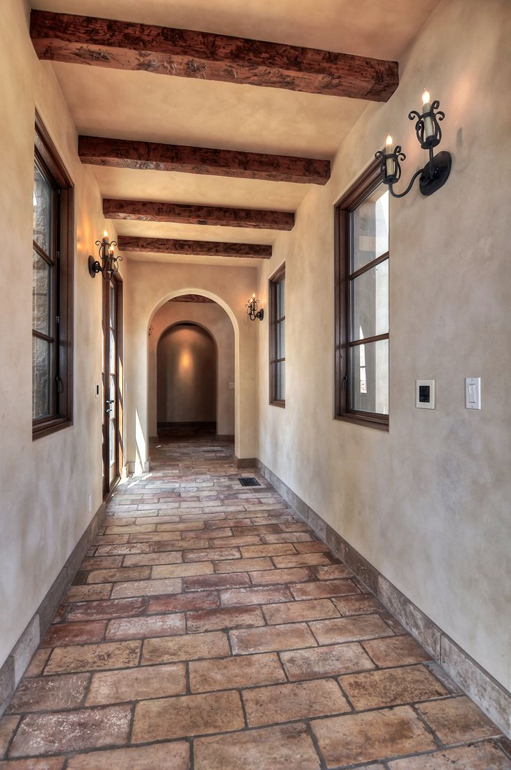 Hallway: Mediterranean, Tuscan, European Architecture, High Ceiling, Open  Beam Ceiling,