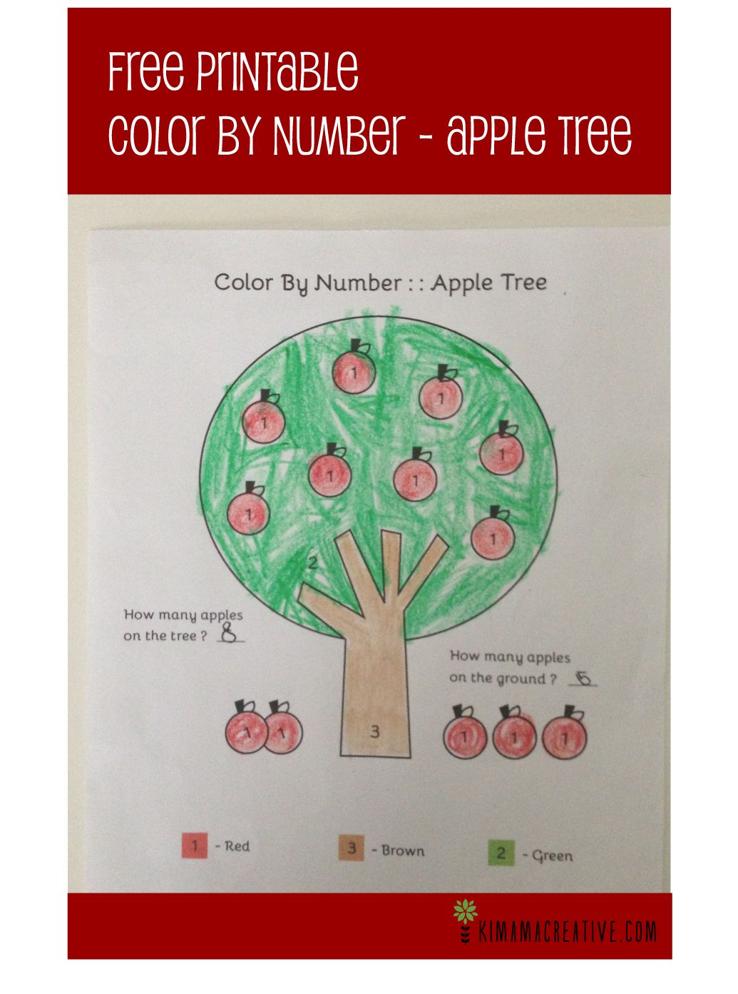 Free Printable- Color By Number:: Apple Tree | Kids | Pinterest ...