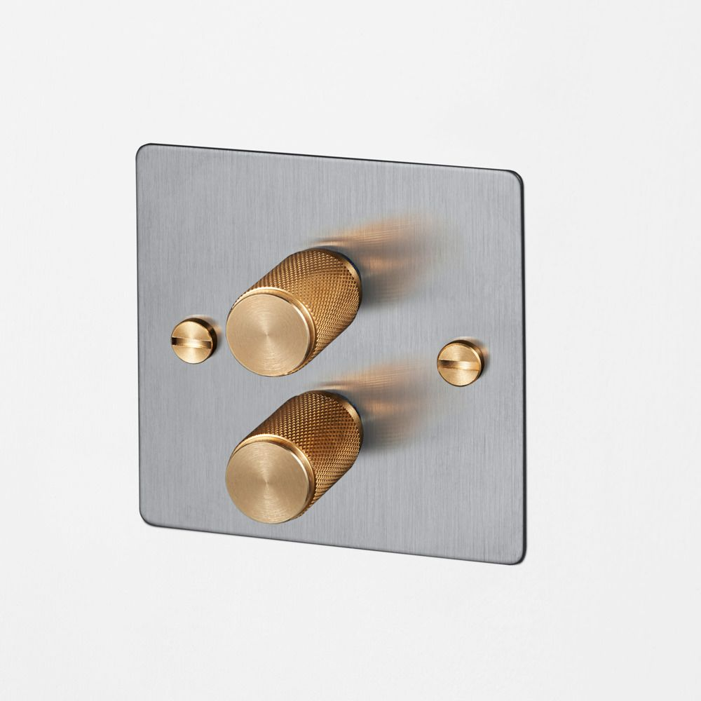 G DIMMER Is A Double Dimmer Switch Made From Solid Metal With A - Bathroom dimmer light switch