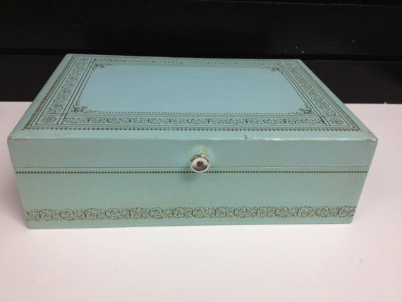 Vintage Aqua Mele or Buxton Jewelry Box by GrandmaUsedToHave 2000